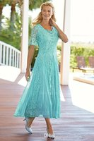 Elegant Tea Length Lace Mother Of The Bride Dresses Scoop Ne...