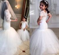 2019 белые кружева цветок девушки платья для свадьбы красота с короткими рукавами русалка девушка день рождения день рождения платье труба маленькие девочки конкурс