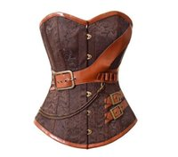 Brown Gothic Vintage Corset Bustier Burlesque Lace up Boned cremallera Cosplay traje Showgirl Top Shirt más el tamaño S-6XL