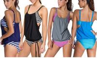 2016 Yeni Bikini Yaz Kadın Seksi Mayo Çizgili Bikinis Setleri Mayo Mayo Artı Boyutu