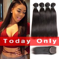 Peruvian Straight Virgin Hair 4 Bundle Deals With Closure 10...