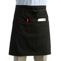 120 stücke Großhandel Universal Black Unisex Frauen Männer Küche Kochen Taille Schürze Kurze Taille Kellner Schürze mit Doppeltaschen ZA0414