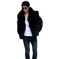 Güz-2016 Erkek Moda Katı Vetement Homme Faux Fox Kürk Ceket Rahat Sıcak Ceket Dış Giyim Sonbahar Kış Tarzı Artı Boyutu L-3XL