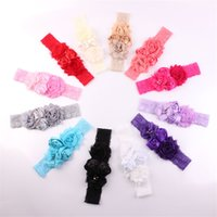 Newborn Infants Baby Lace Headbands Flowers Satin Shbby Fabr...