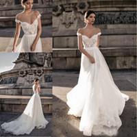 2018 Gali Karten Bohème une ligne robes de mariée de l'épaule Sheer Dentelle Tulle Robes de mariée balayage train