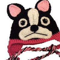 Novelty Boston Terrier Hat, Handmade Knit Crochet Baby Girl P...