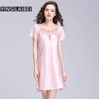 Al por mayor-M-XXXXL más el tamaño de los camisones Satén de imitación de seda Vestido de noche de las mujeres ropa de dormir Vestido largo Chemise De Nuit Gecelik SY026 # 0