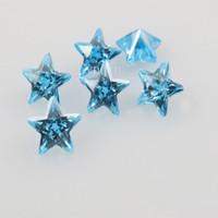 500pcs / серия Бесплатной доставки звезды Аквамарин Циркон машин отделиться CZ бисер Аквамарин драгоценных камней
