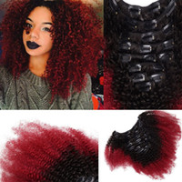 T1b Red Ombre Clip In Human Hair Extensions Afro Kinky Curly...