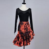 Adulto / Girls Latin Dance Dress Salsa Tango Chacha Ballroom Competition Vestido de baile Black Mesh Stitching Top de manga largaLeopard Skirt Suit