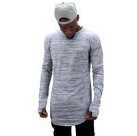 Hip Pop fresco T-shirt da uomo guanto Thumb uomini di disegno irregolarità Hem O collo a maniche lunghe T-shirt trasporto libero scava fuori Pollice Sport Tshirt