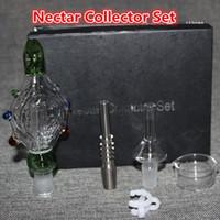 Nectar Collectors Kits Mit Domeless Quarz Nagel 14mm 18mm Nector Collector Ölplattformen Glas Bongs Aschenfänger Wasserpfeifen Glas