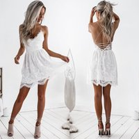 Halter backless white lace dress Women sexy lace up hollow o...