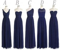Navy blue bridesmaid dresses long bridesmaid dresses chiffon...