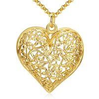 Sıcak 18 K Altın Kaplama Hollow Kalp Kolye Kolye Moda Takı Sevgililer Günü Hediye Kadın Için Kaliteli ve Düşük Fiyat Toptan