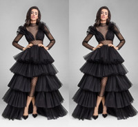 Neues Design Schwarz Illusion Langarm Abendkleider Rüschen Tüll High Low Sheer High Neck Taille Cut Prom Kleider Formale Celebrity Kleid 2019