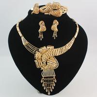 Joyería africana 18 K Oro \ Plata Plateado Rhinestone Collar Llamativo Pulsera Anillo Pendiente Moda Mujeres Conjuntos de joyería de alta calidad