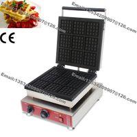 Ücretsiz Kargo Ticari Kullanım yapışmaz 110 v 220 v Elektrikli 9 adet Kare Belçika Belçika Waffle Demir Makinesi Baker Makine Kalıp Plakası