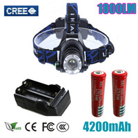hot sale Headlight Cree XM- L T6 led 1800LM rechargeable Head...