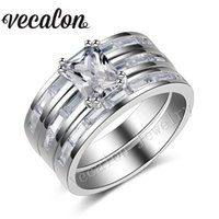 Vecalon Full Princess cut Simulated diamond cz Engagement Wedding Band Ring Set for Women 10KT White Gold Filled Party ring R123