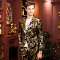Kıdemli tasarımcı altın baskı suit 2016 yüksek kalite moda altın ceket Marka düğün suit kişinin ahlak yetiştirmek erkek sonbahar kış ceket