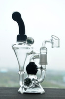 Cheap Double Recycler Chamber Bong Beautiful Pink Oil Dab Rigs Unique Cone Base Flower Décor Chambre Verre Noir Water Bong avec 14mm
