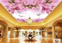 jiadou مخصص على الطريقة اليابانية السماء الزرقاء الغيوم البيضاء الكرز شجرة جميلة خلفيات السقف غرفة الجداريات