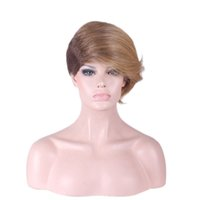 Synthetic wigs short straight wig heat resistant ombre brown...