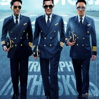 All'ingrosso-nuovi abiti da uomo Navy pilota doppi seni vestiti host blu scuro