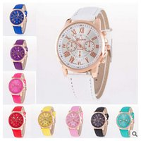 New Casual Watches Women Dress Watches Roman PU Leather Quar...