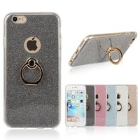 Vendita all'ingrosso! Nuova custodia di protezione Shell Cover Glitter Phone Finger Ring fibbia staffa Kickstand Shield Case per iPhone 8 6 6s 7 plus