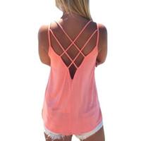 Atacado-verão 2016 mulheres sexy camisola de alças das senhoras camisola sem mangas alça colete backless tops sólidos criss cross loose crop top feminino