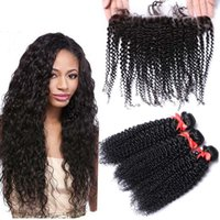 8A Kinky Straight Virgin Hair Bundles With Lace Frontal Free...