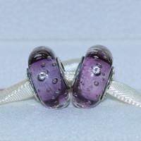 5pcs 925 Sterlingsilber-loses Korn Thema Lila Effervescence Murano Glasperlen passender europäischer Art-Charme Schmuck Armbänder Halskette