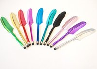삼성 S5S6S7 정제 PC 를 위한 전기 용량 첨필 터치스크린 펜을 자유로운 선박 500pcs/Lot 깃털을 다십시오