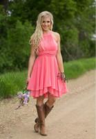 Mode benutzerdefinierte farbige Cocktailkleider Country Westen geraffte Chiffon kurze Brautjungfer Kleider knielangen Trauzeugin Kleider