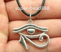Vendita calda! 20pcs / lot argento tibetano Rah Egitto Eye Of Horus Collana egiziana Girocollo pendente di fascini Collana in pelle nera