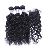 Hair Weft With Closure Natural Wave Unprocessed Brazilian In...
