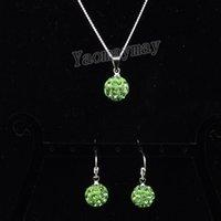 Cristal verde claro pendientes y collar colgante de plata conjunto de joyas de cristal 10 juegos de regalo de Navidad