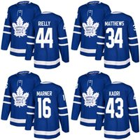 2018 2017 Nouvelle Marque Hommes Maple Leafs 34 Auston Matthews 16 Mitch Marner 44 Morgan Rielly 43 Nazem Kadri Bleu Chandails de Hockey Sur Mesure