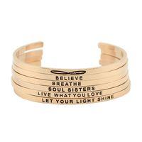 Neuankömmling! Edelstahl Offene Manschette Armband Rose Gold Hand Gestempelte Armband Armreif Gravierte Wörter Armband Armreif Schmuck