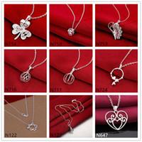 Сердце бабочка 925 серебряное ожерелье (с цепью) 10 штук много смешанного стиля, горячие продажи женские драгоценные камни стерлингового серебра серебро
