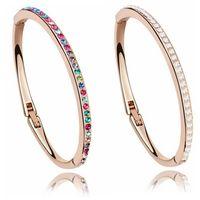 Pulseiras de Cristal Austríacas Bangles Marca Moda Charme Pulseiras de Cuff para Mulheres de Alta Qualidade Jóias 18k Rose Banhado A Ouro 6060