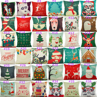 Fashion Linen Cotton Pillow Cover Vintage Chirstmas Style Pa...