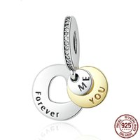 S925 pure silver charms beads You & Me forever love heart Th...