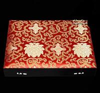 La alta calidad 6 8 9 12 15 rejilla de múltiples caja de regalo de madera del reloj de exhibición de la joyería ranura caja de la caja de seda china de brocado decorativas Cajas de embalaje