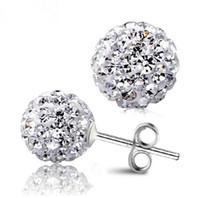 Mode Femmes Shamballah Bijoux En Argent Sterling 925 Plaqué Diamant Strass Cristal 8 MM Shambhala Perles Boucles D'oreilles