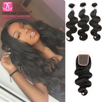 8a unprocessed hair brazilian weave wavy hair with lace clos...