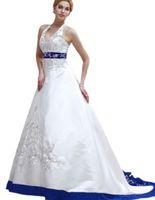 Neue kommende am besten gemachte Stickerei-Hochzeits-Kleider fegen Zug A-Linie Halter-Brautkleider vestido de noiva W113 wulstiges herrliches