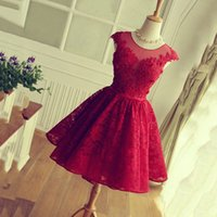 짧은 Sweety 칵테일 드레스 보석 깎아 지른 목에 Applique 자수 이브닝 드레스 백 지퍼가 달린 빨간색 커스텀 가운